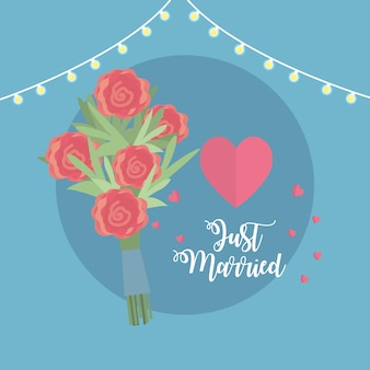 Just married celebration with bouquet and hearts