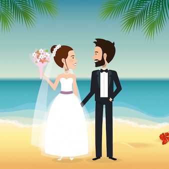 Just married couple in the beach