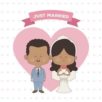 Только что женился пара невесты и жениха кожи брюнетка