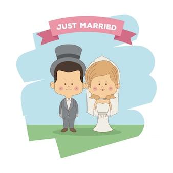 Только что женился пара невесты с блондинка волосы и жених в шляпе