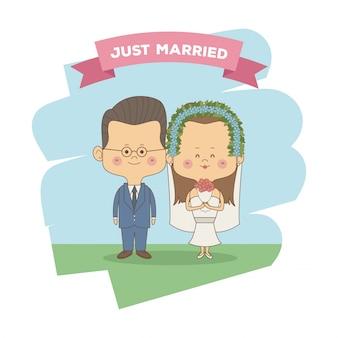 Только что женился пара невесты с коричневыми длинные волосы и жених с очками