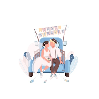 Just married couple in car flat color faceless characters
