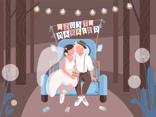 Just married couple in car flat color illustration