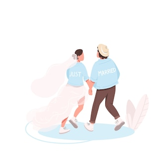 Just married couple flat color faceless characters. young wife and husband together. bride and groom holding hands isolated cartoon illustration for web graphic design and animation