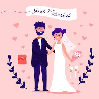 Just married couple in flat design
