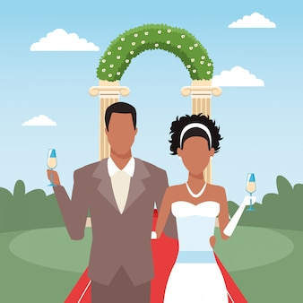 Just married couple holding champagne glasses, colorful design