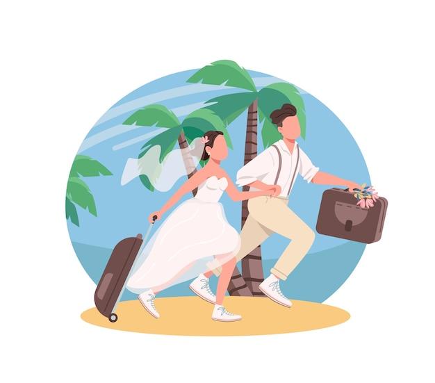Молодожены медовый месяц 2d веб-баннер, плакат. жена и муж с чемоданами плоских персонажей на фоне мультфильма. патч для печати тропических каникул молодоженов, красочный веб-элемент