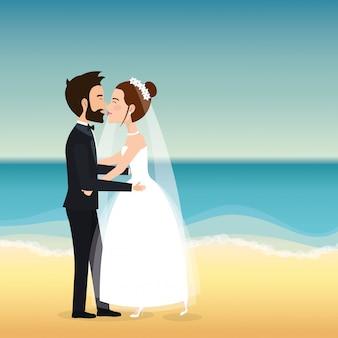 ビーチでちょうど結婚されていたカップル