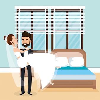 寝室でちょうど夫婦