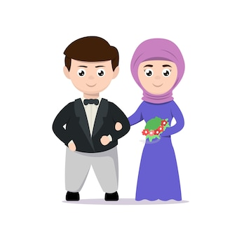 Just married couple mascot design illustration