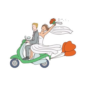 Just married couple on motorbike or moped sketch vector illustration isolated