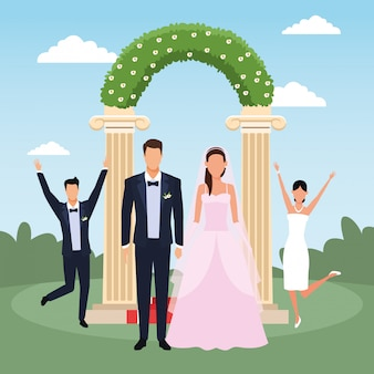 Just married couple standing and other married couple excited over floral arch
