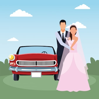 Just married couple standing and red classic car over landscape