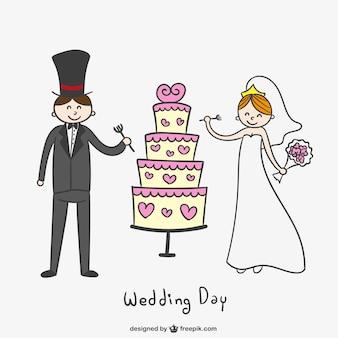 Appena coppia sposata con la torta