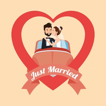 Just married couple with car avatars characters