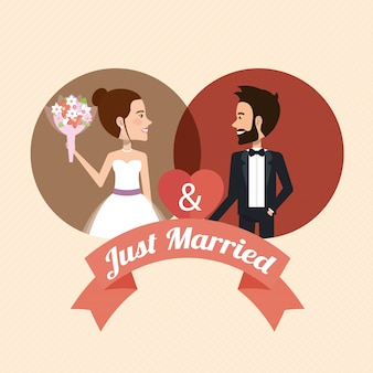 Just married couple with hearts avatars characters