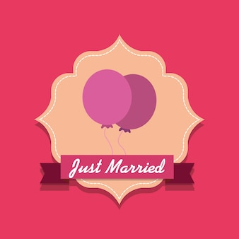 Just married design with balloons decorative frame