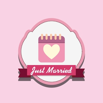 Just married design with calendar and decorative frame