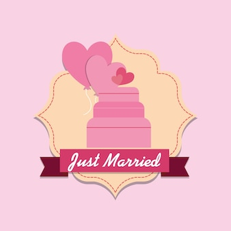 Just married design with decorative frame and wedding cake