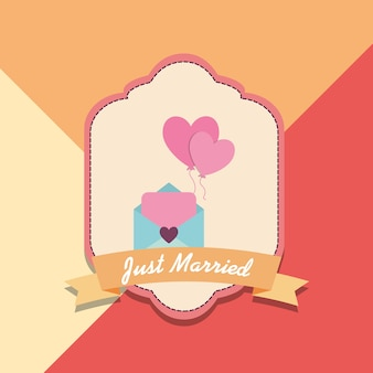 Just married design with envelope and decorative frame