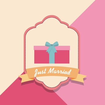 Just married design with gift box and decorative frame
