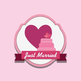 Just married design with wedding cake and heart