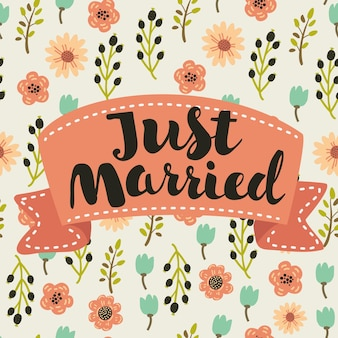 Молодожены, рисованной надписи для дизайна свадебного приглашения