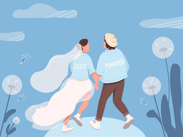 Just married happy couple flat color illustration