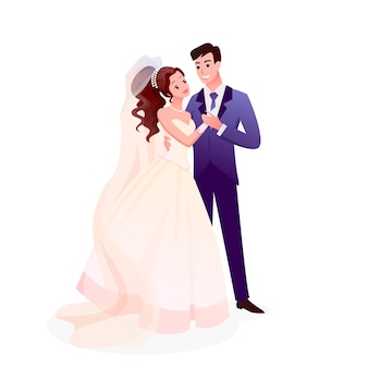 Just married happy man woman characters standing together, cute romantic bride and groom on wedding