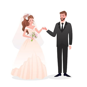 Just married happy man woman characters standing together, wedding day party celebration