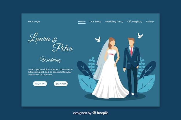 Just married landing page template