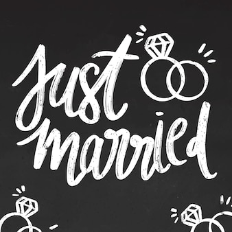 Just married lettering on blackboard