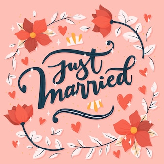 Just married lettering with flowers