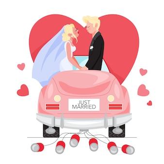 車の中でちょうど結婚した男女。カップルが車の中でキスします。ウェディングカード。新婚旅行に行く恋人。図
