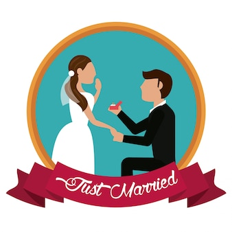 Just married man proposing woman label