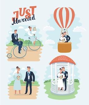 結婚したばかりの新婚夫婦の新郎新婦が、ハギンにキスをして踊る結婚を祝う幸せなカップルを設定しました...