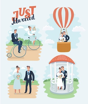Just married  newlyweds bride and groom set happy couple celebrating marriage dancing kissing huggin...