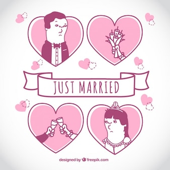 Just married, pink illustration