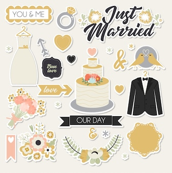 Just married stickers