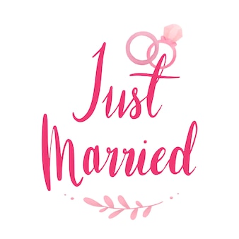 Just married typography vector in pink