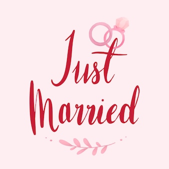 Just married typography vector in red