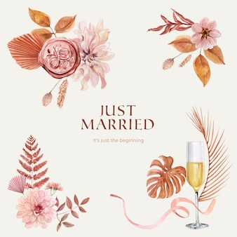 Just married wedding card set in watercolor style