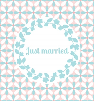Just married wedding card with floral frame