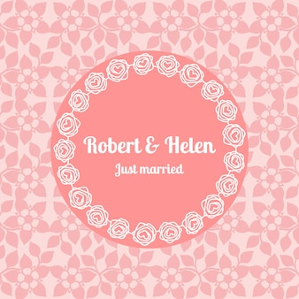 Just married wedding floral card template