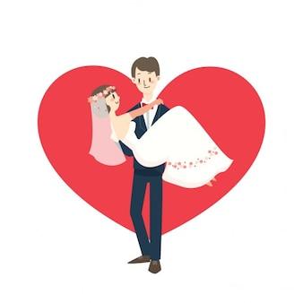 Giovane coppia di nozze sposa di trasporto dello illustrazione sposa vector cartoon