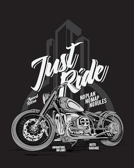 ただ乗る、冒険バイクのイラスト