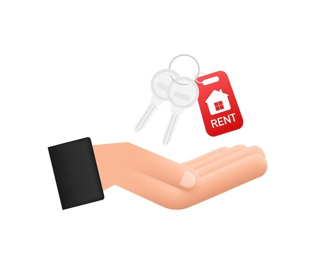 Just sold keys handing over hand on white background. vector stock illustration.
