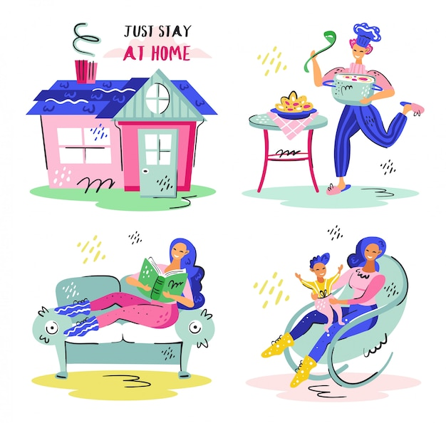 Just stay at home set. house, home chief, mother care. coronavirus pandemic self isolation, health care, protection. flat colourful vector illustration icon sticker isolated on white background.