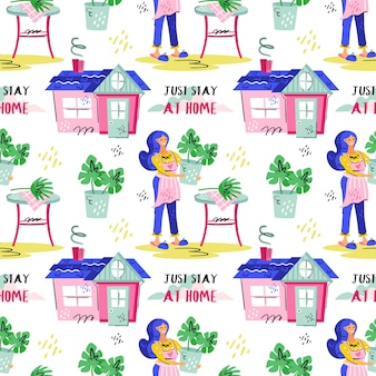 Just stay at home. young smiling girl with blue hair growing plants. coronavirus pandemic self isolation, protection. flat colourful vector seamless pattern texture wallpaper isolated on background.