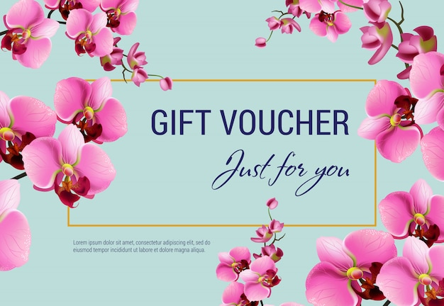 Just for you, gift certificate with pink flowers and frame on light blue background.
